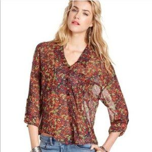 Free People Easy Rider Sheer Floral Rose Top MD
